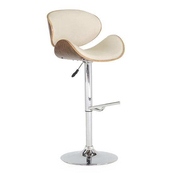 Rocco Faux Leather Gas Lift Bar Stool In Cream