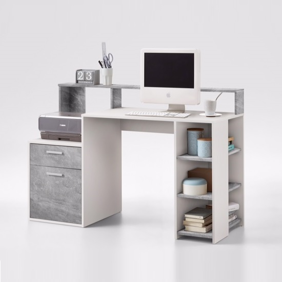 Rocco Wooden Computer Desk In Light Atelier And White