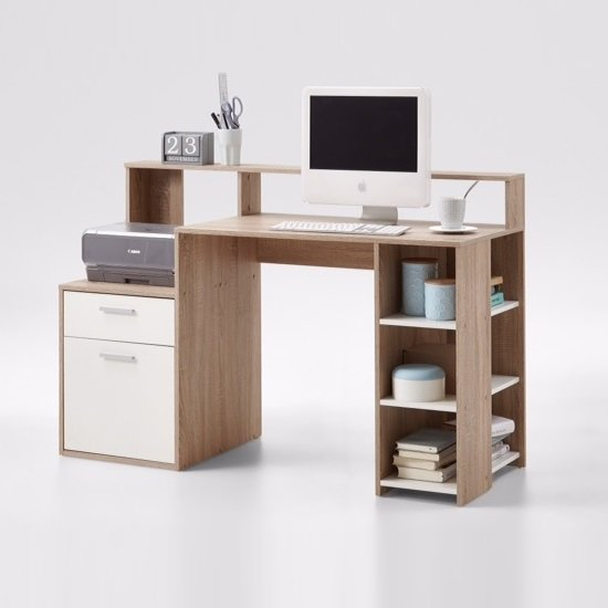 Photo of Rocco wooden computer desk in canadian oak and white