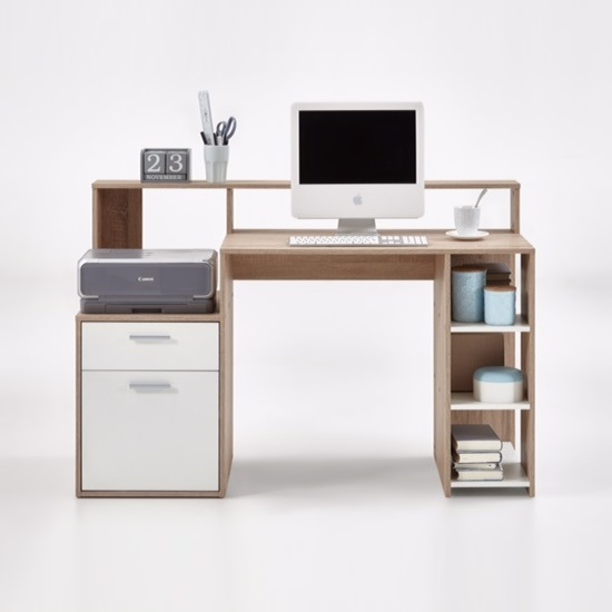 Rocco Wooden Computer Desk In Canadian Oak And White_2