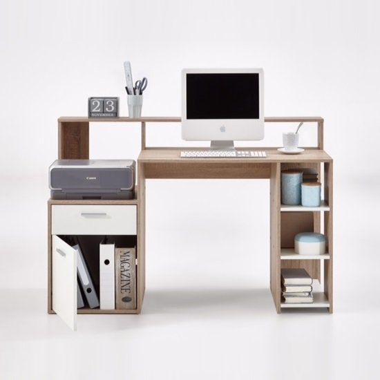 Rocco Wooden Computer Desk In Canadian Oak And White_3