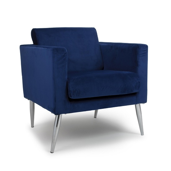 Rochelle Modern Arm Chair In Ocean Blue Brushed Velvet