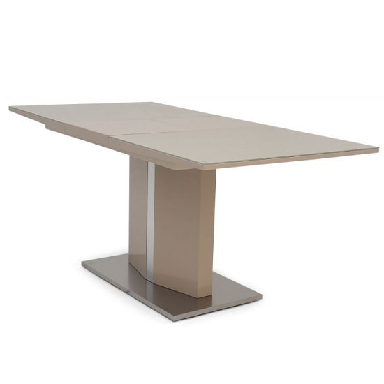 Rochelle Glass Extendable Dining Table With Cream High Gloss_1