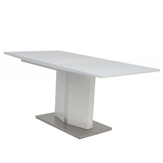 Rochelle Glass Extendable Dining Table With White High Gloss_1
