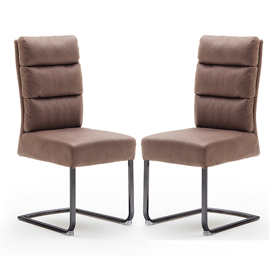 Rochester Cappuccino Fabric Dining Chairs And Black Legs In Pair