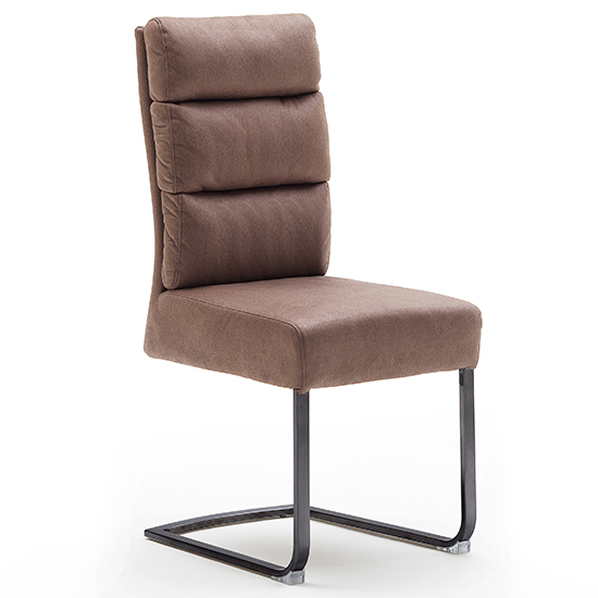 Rochester Fabric Dining Chair In Cappuccino With Black Legs