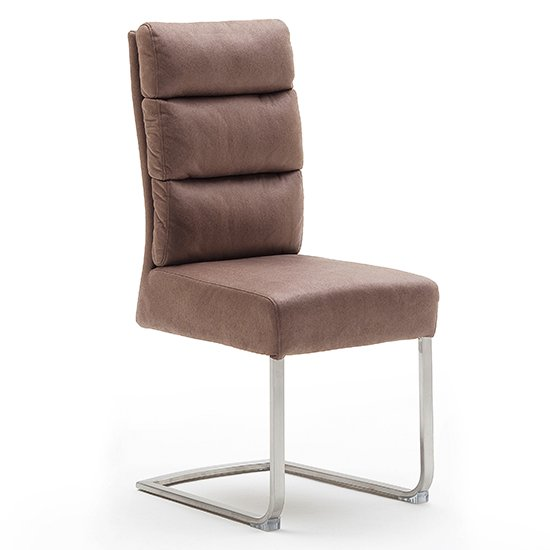 Rochester Fabric Dining Chair In Cappuccino With Brushed Legs