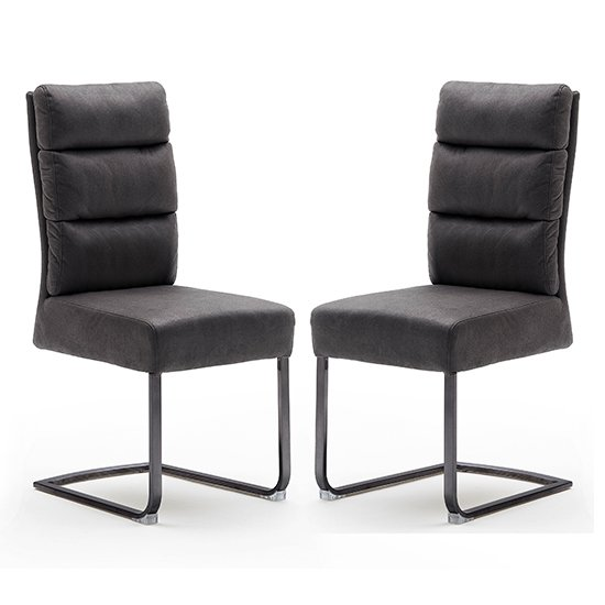 Rochester Grey Fabric Dining Chairs And Black Legs In Pair