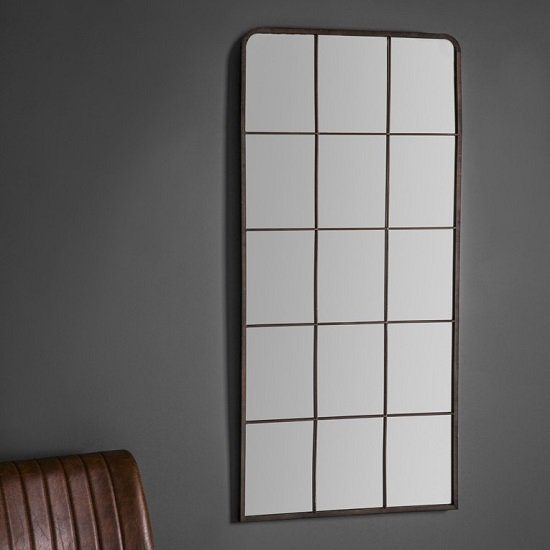 Rickard Wall Mirror In Rustic Metal With Window Pane Design_1