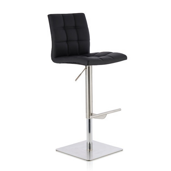 Rocklin Bar Stool In Black Faux Leather And Stainless steel Base