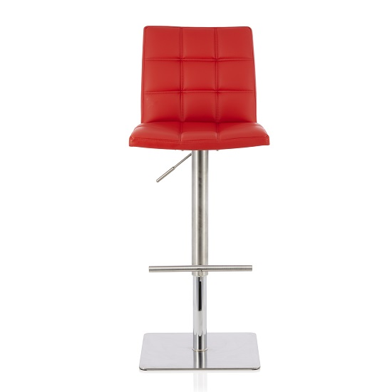 Rocklin Bar Stool In Red Faux Leather And Stainless Steel Base