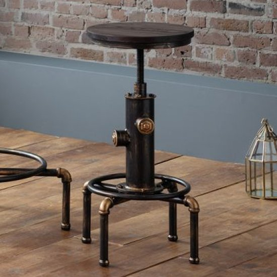 Rockport Pipework Bar Stool In Brushed Copper And Rustic Elm