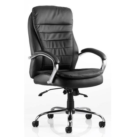 Rocky Leather High Back Executive Office Chair In Black