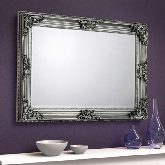Rococo Wall Bedroom Mirror In Pewter