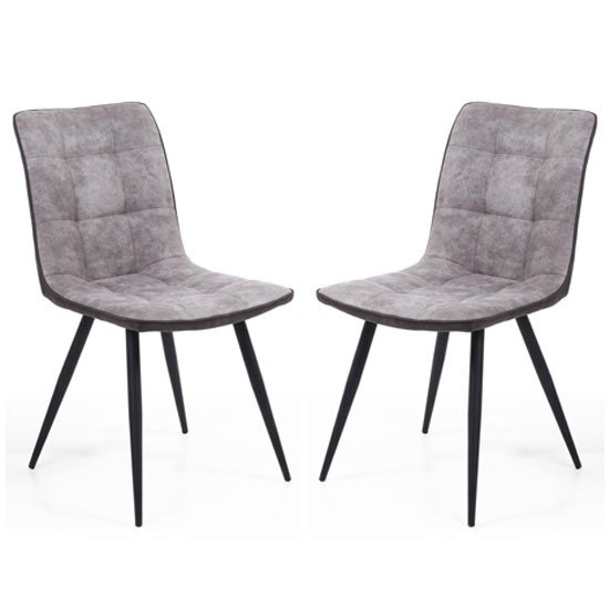 Suede Effect Grey Dining Chair Pair