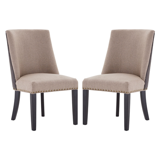 Rodik Beige Fabric Upholstered Dining Chairs In Pair