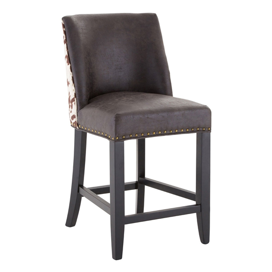 Rodik Cowhide Faux Leather Bar Stool In Brown