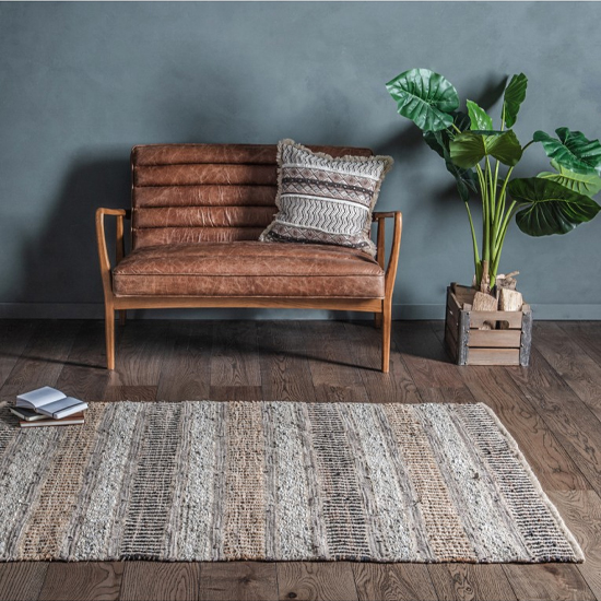Rojato Cotton Fabric And Leather Rug In Chocolate