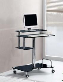 Roley Computer Desk In Black Glass
