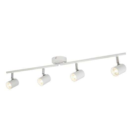 Rollo 4 Light Ceiling Split Bar In White And Chrome