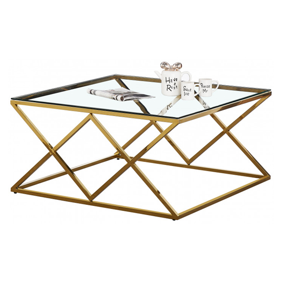 Roma Clear Glass Coffee Table With Gold Stainless Steel Legs_2