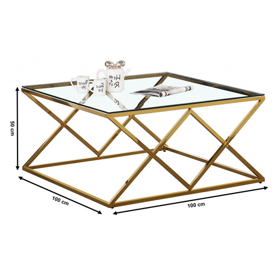 Roma Clear Glass Coffee Table With Gold Stainless Steel Legs_3