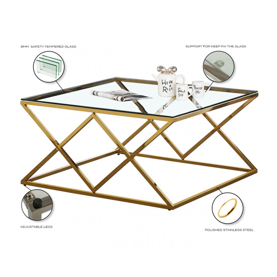 Roma Clear Glass Coffee Table With Gold Stainless Steel Legs_4