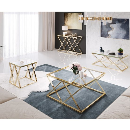 Roma Clear Glass Coffee Table With Gold Stainless Steel Legs_5