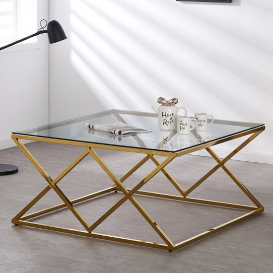 Roma Clear Glass Coffee Table With Gold Stainless Steel Legs_1