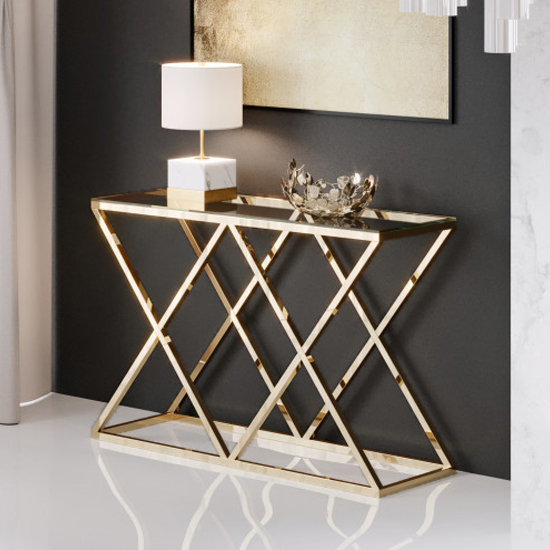 Roma Clear Glass Console Table With Gold Stainless Steel Legs