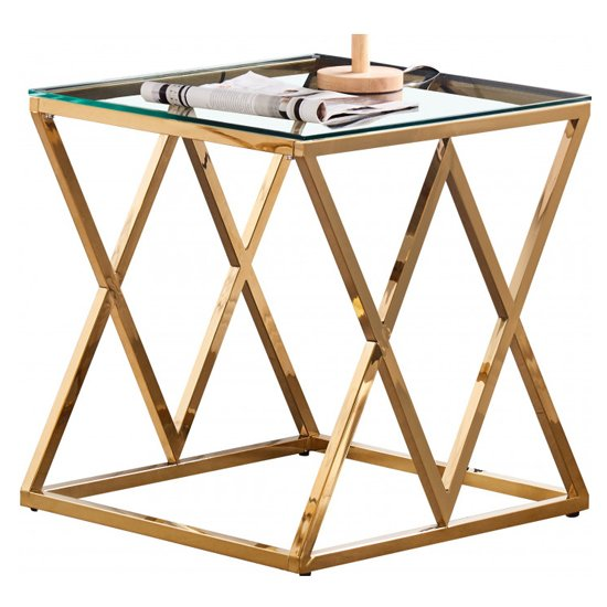 Roma Clear Glass Side Table With Gold Stainless Steel Legs_2