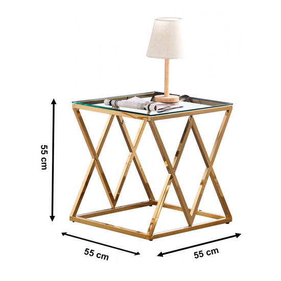 Roma Clear Glass Side Table With Gold Stainless Steel Legs_3