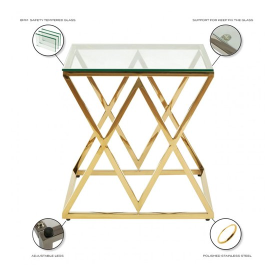 Roma Clear Glass Side Table With Gold Stainless Steel Legs_4
