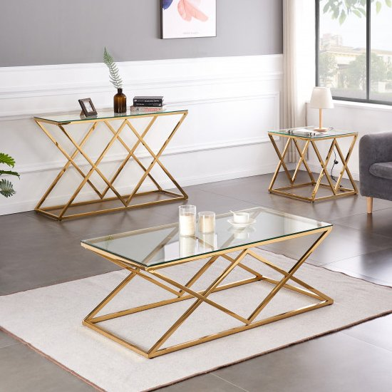 Roma Clear Glass Side Table With Gold Stainless Steel Legs_5