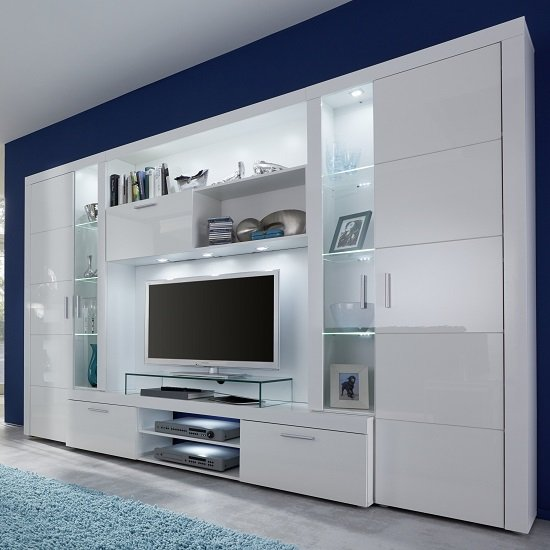 Roma Entertainment Unit In White With High Gloss Fronts