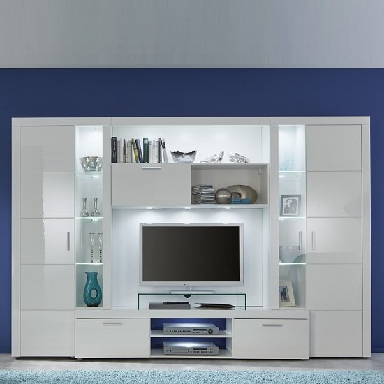 Roma Entertainment Unit In White With High Gloss Fronts And LED_2