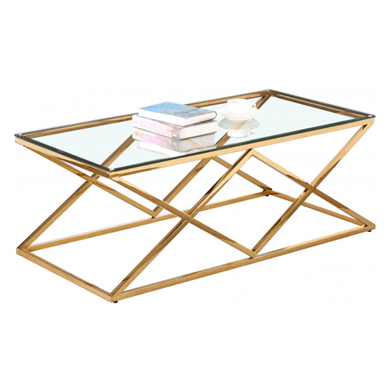 Roma Rectangular Clear Glass Coffee Table With Gold Steel Legs_2