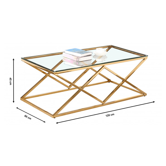 Roma Rectangular Clear Glass Coffee Table With Gold Steel Legs_3