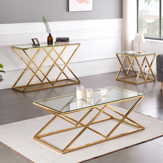 Roma Rectangular Clear Glass Coffee Table With Gold Steel Legs_5