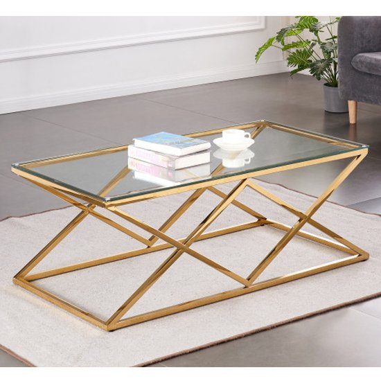 Roma Rectangular Clear Glass Coffee Table With Gold Steel Legs_1