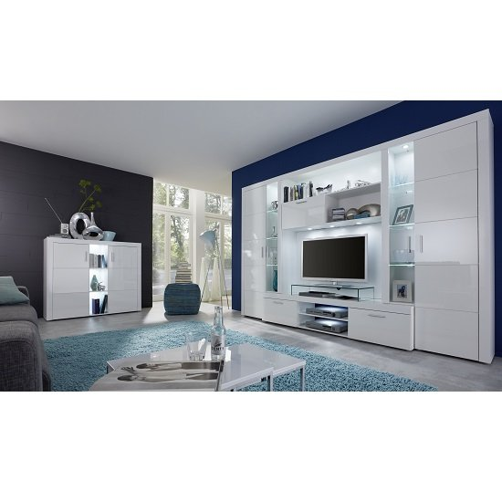 Roma Entertainment Unit In White With High Gloss Fronts And LED_3