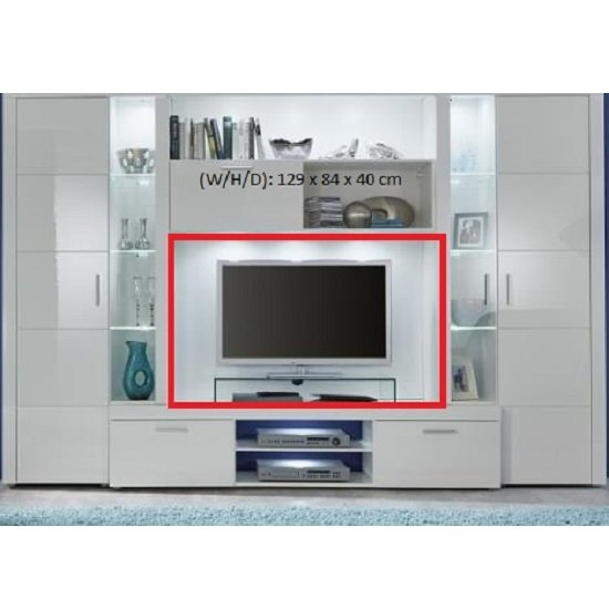 Roma Entertainment Unit In White With High Gloss Fronts And LED_4