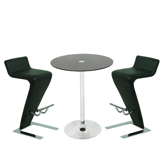 Roma Glass Bar Table In Black With 2 Farello Bar Stools