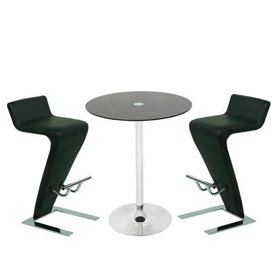Glass Bar Stools: Roma Glass Bar Table In Black With 2 Farello Bar Stools