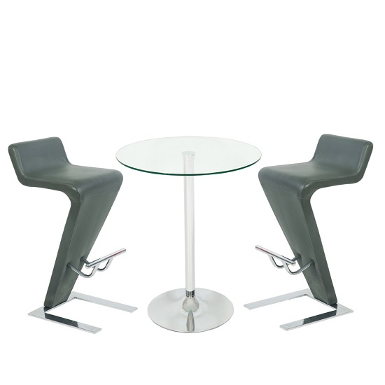 Roma Glass Bar Table In Clear With 2 Farello Grey Bar Stools
