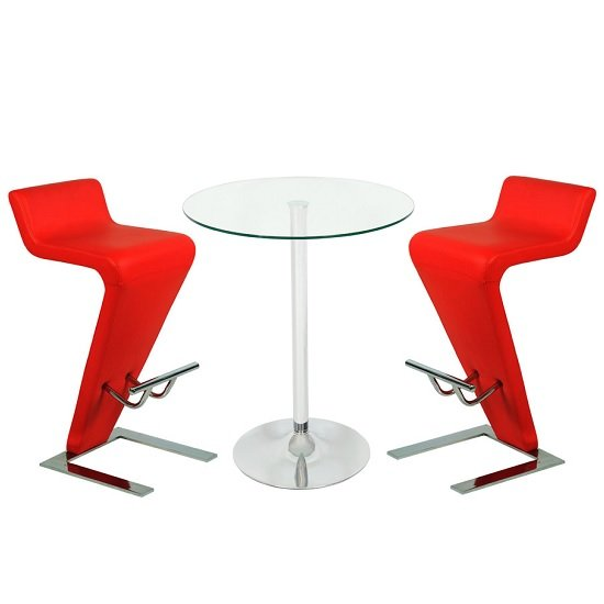 Roma Glass Bar Table In Clear With 2 Farello Red Bar Stools