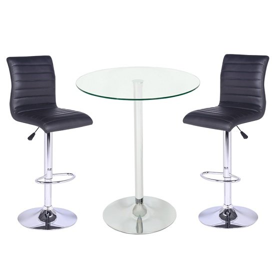 Roma Glass Bar Table In Clear With 2 Ripple Black Bar Stools