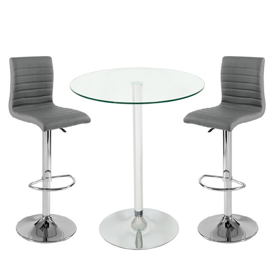 Glass Bar Stools: Roma Glass Bar Table In Clear With 2 Ripple Grey Bar Stools