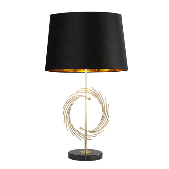 Roman Table Lamp With Marble Base In Gold And Black