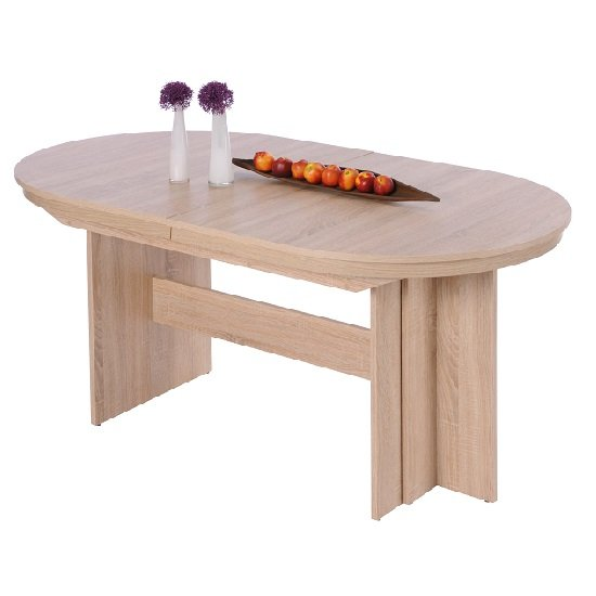 Roman Extendable Wooden Dining Table Oval In Sonoma Oak